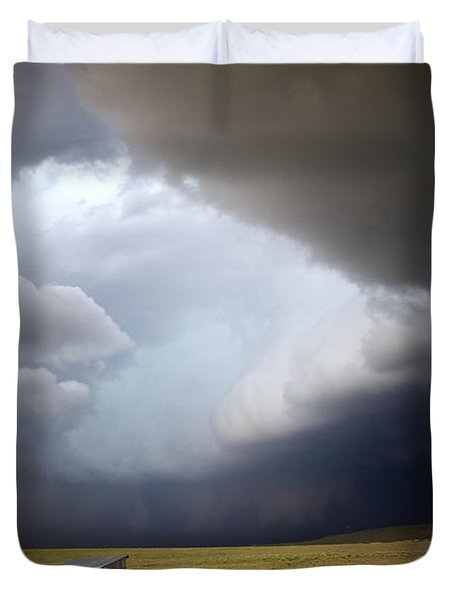 Thunderstorm Over The Plains Duvet Cover by Ellen Heaverlo