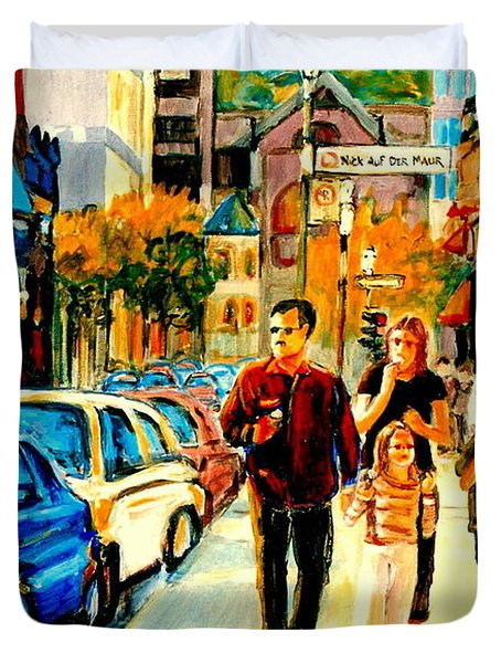 Thursdays Pub On Crescent Street Montreal City Scene Duvet Cover by Carole Spandau