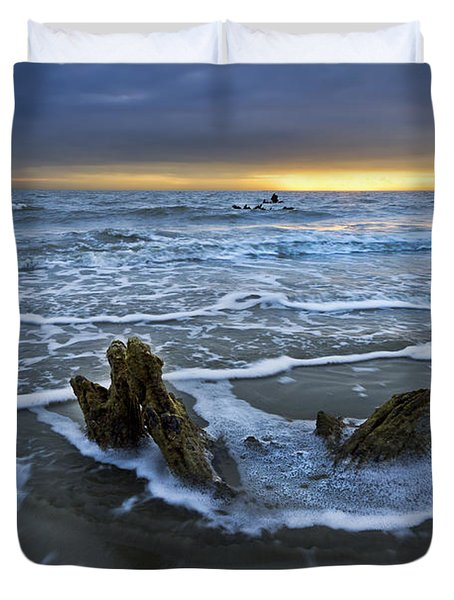 Tides At Driftwood Beach Duvet Cover by Debra and Dave Vanderlaan