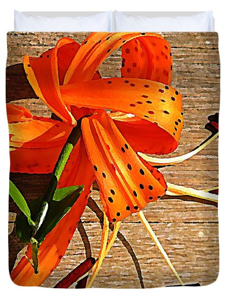 Tiger Lily with Watercolor  Duvet Cover by Chris Berry