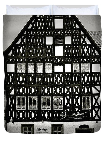 Timber-frame house Weimar Duvet Cover by Christine Till
