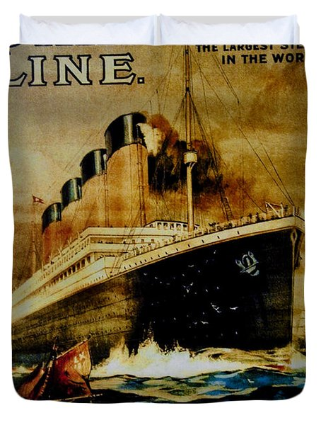 Titanic - White Star Line Duvet Cover by Bill Cannon