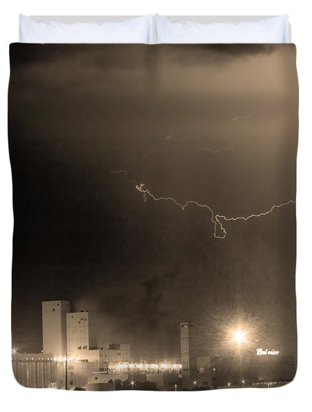 To The Right Budweiser Lightning Strike Sepia  Duvet Cover by James BO  Insogna