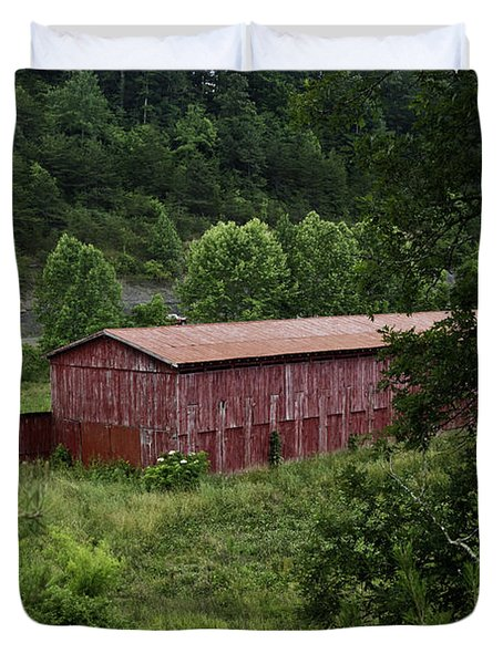 Tobacco Barn From Afar Duvet Cover by Douglas Barnett