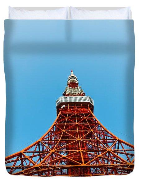 Tokyo Tower Faces Blue Sky Duvet Cover by Ulrich Schade