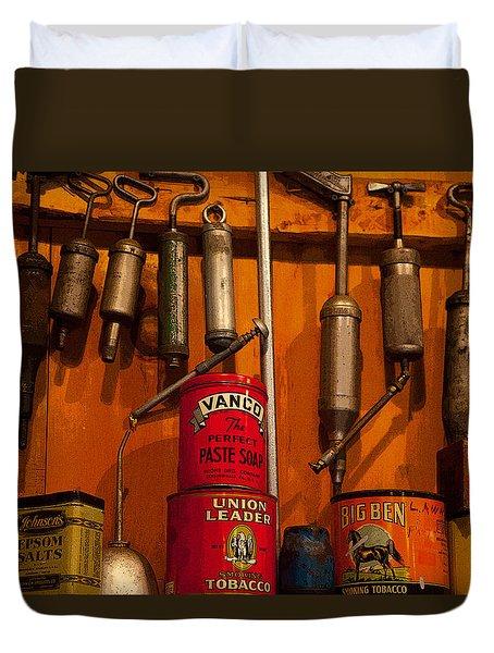 Tool Shop Duvet Cover by Karol  Livote