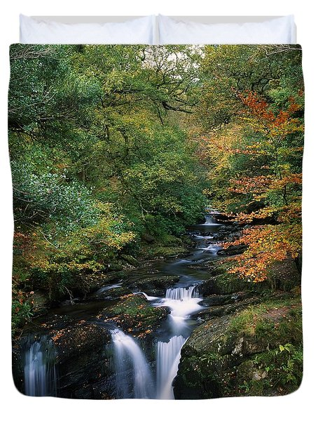 Torc Waterfall, Ireland,co Kerry Duvet Cover by The Irish Image Collection