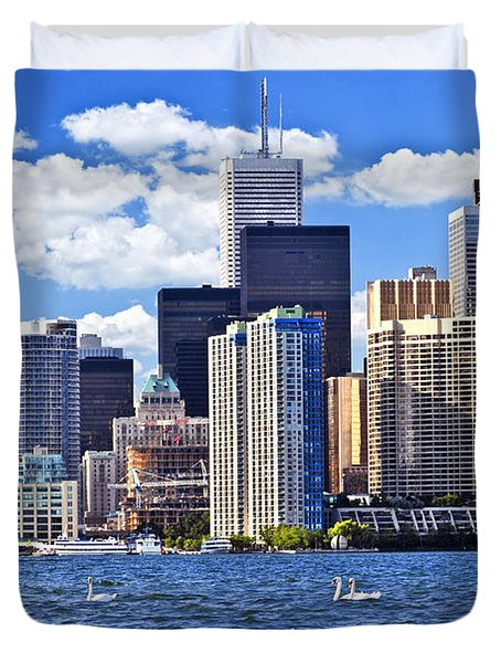 Toronto waterfront Duvet Cover by Elena Elisseeva