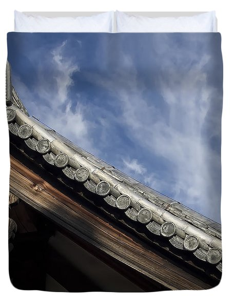 Toshodai-ji Temple Roof Gargoyle - Nara Japan Duvet Cover by Daniel Hagerman