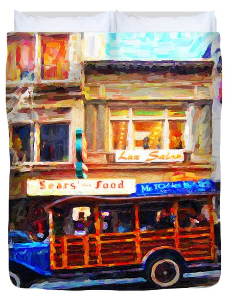 Touring The Streets of San Francisco Duvet Cover by Wingsdomain Art and Photography
