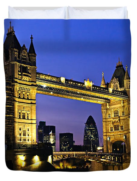 Tower bridge in London at night Duvet Cover by Elena Elisseeva