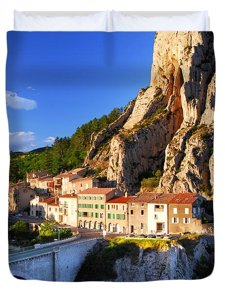 Town Of Sisteron In Provence France Duvet Cover by Elena Elisseeva