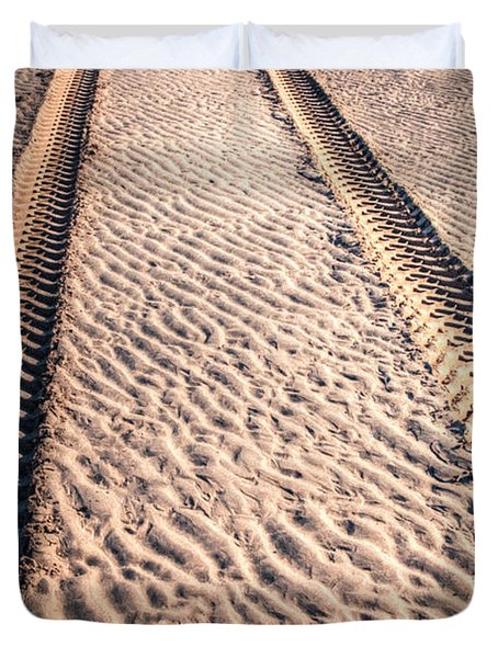 Tracks In The Sand Duvet Cover by Adrian Evans