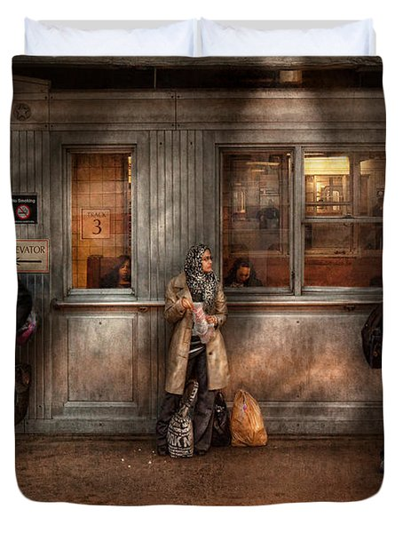 Train - Station - Waiting for the next train Duvet Cover by Mike Savad