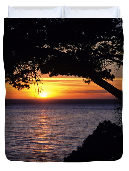Tree Framing Seascape Sunset Duvet Cover by Ali ONeal - Printscapes