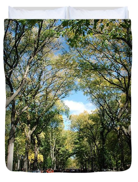 TREES on the MALL in CENTRAL PARK Duvet Cover by ROB HANS