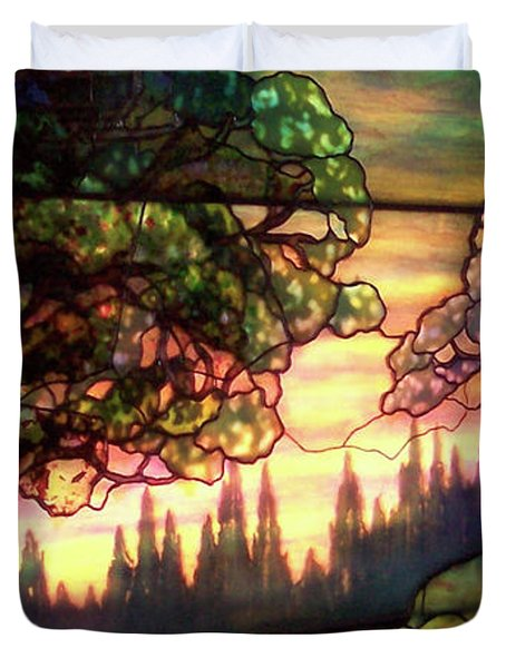 Trees Stained Glass Window Duvet Cover by Thomas Woolworth