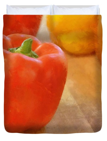 Tri Colored Peppers Duvet Cover by Michelle Calkins