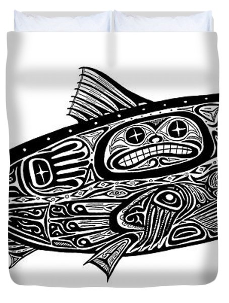 Tribal Salmon Duvet Cover by Carol Lynne