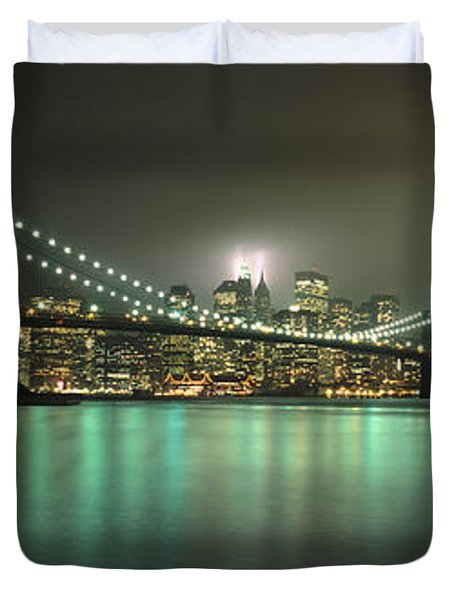 Tribute In Light, Lower Manhattan On Duvet Cover by Axiom Photographic