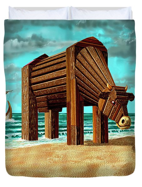Trojan Cow Duvet Cover by Russell Kightley