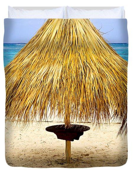 Tropical beach umbrella Duvet Cover by Elena Elisseeva