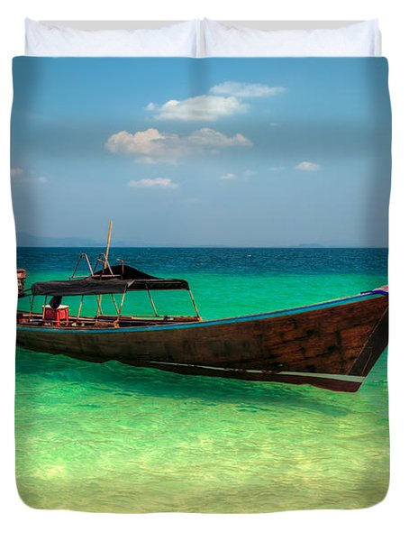 Tropical Boat Duvet Cover by Adrian Evans