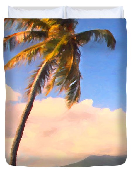 Tropical Island 2 - Painterly Duvet Cover by Wingsdomain Art and Photography