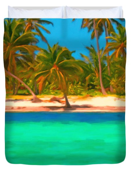 Tropical Island 5 - Painterly Duvet Cover by Wingsdomain Art and Photography