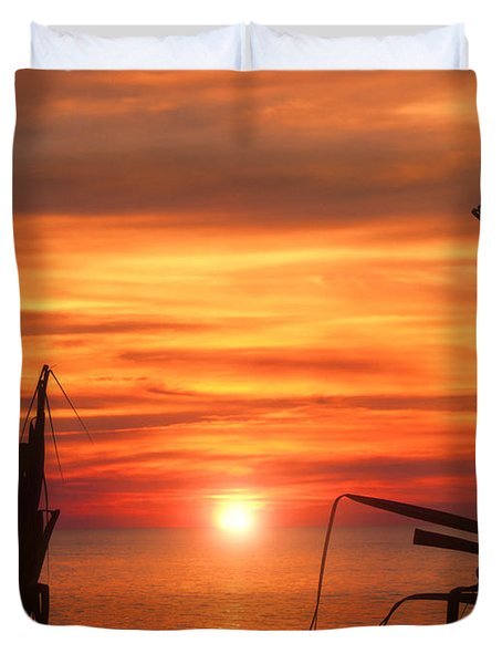 Tropical Sunset V6  Duvet Cover by Douglas Barnard