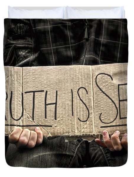 Truth Is Sexy Duvet Cover by Evelina Kremsdorf