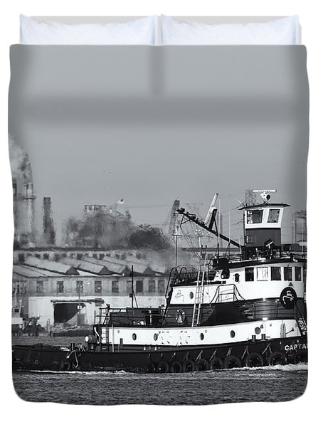 Tugboat Captain D In Newark Bay II Duvet Cover by Clarence Holmes