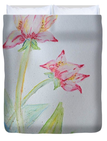 Tulip Duo I  Duvet Cover by Debbie Portwood