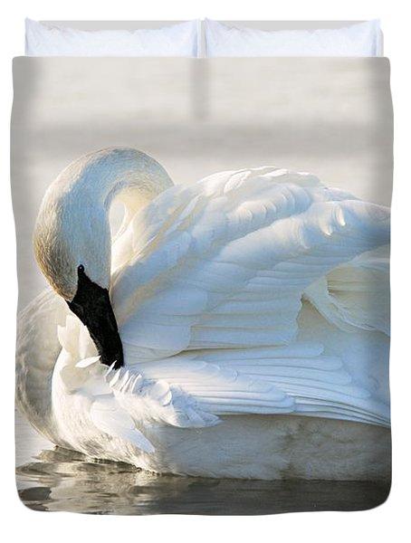 Tumpeter Swan Duvet Cover by Larry Ricker