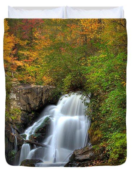 Turtletown Creek Falls Duvet Cover by Debra and Dave Vanderlaan