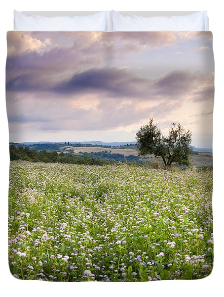 Tuscany Flowers Duvet Cover by Brian Jannsen