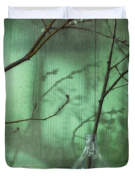 Twigs Shadows And An Empty Beer Jug Duvet Cover by Priska Wettstein