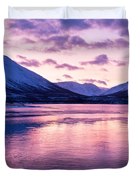 Twilight Above A Fjord In Norway With Beautifully Colors Duvet Cover by Ulrich Schade