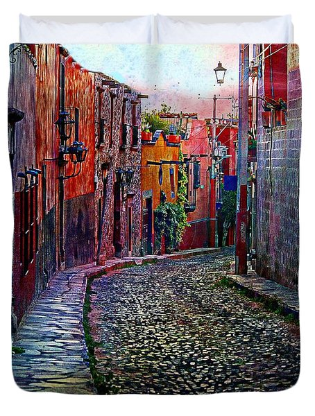 Twilight In San Miguel De Allende Duvet Cover by John  Kolenberg