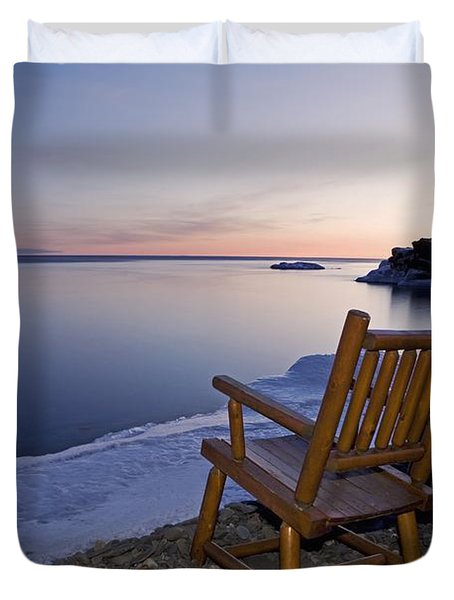 Two Chairs At Waters Edge Looking Out Duvet Cover by Susan Dykstra
