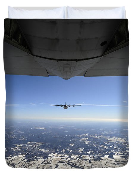 Two Ec-130j Commando Solo Aircraft Fly Duvet Cover by Stocktrek Images