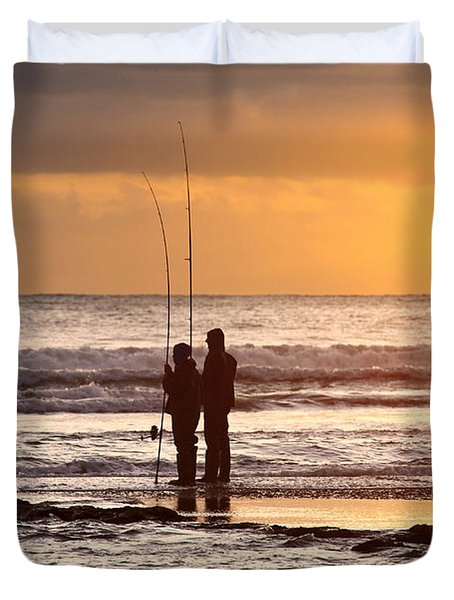 Two Fisherman Duvet Cover by Carlos Caetano