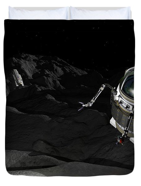 Two Manned Maneuvering Vehicles Explore Duvet Cover by Walter Myers