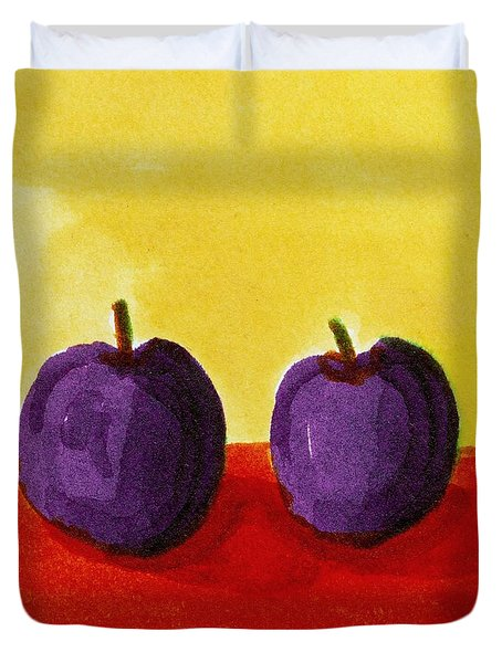 Two Plums Duvet Cover by Michelle Calkins