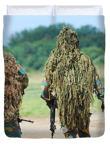 Two Snipers Of The Belgian Army Dressed Duvet Cover by Luc De Jaeger