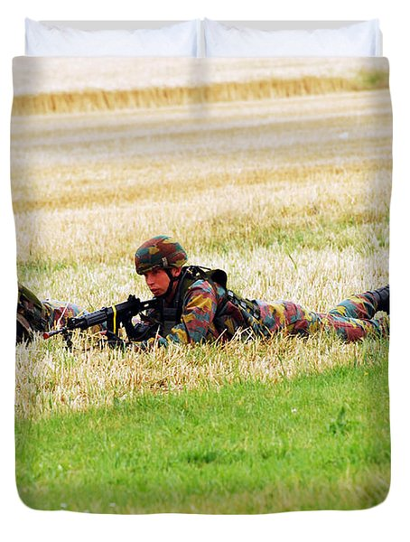 Two Soldiers Of The Belgian Army Duvet Cover by Luc De Jaeger
