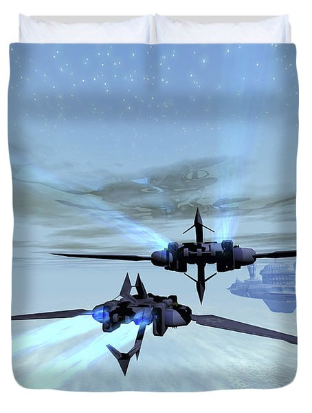 Two Spacecraft Fly Back To Their Space Duvet Cover by Corey Ford