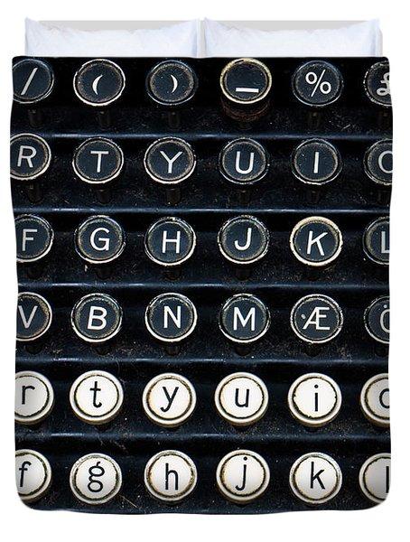 Typewriter Keyboard Duvet Cover by Hakon Soreide