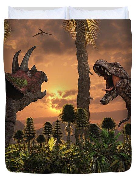 Tyrannosaurus Rex And Triceratops Meet Duvet Cover by Mark Stevenson