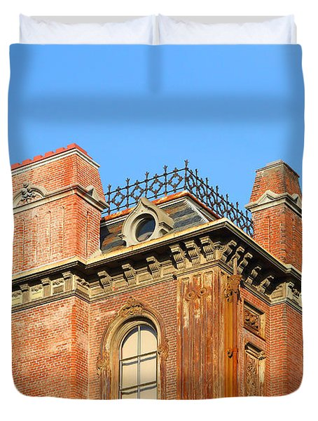 UC Berkeley . South Hall . Oldest Building At UC Berkeley . Built 1873 . The Campanile in The Backgr Duvet Cover by Wingsdomain Art and Photography